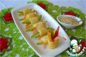 Рецепт Закуска с креветками, авокадо и манго