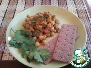 Рецепт Нут с печеными баклажанами
