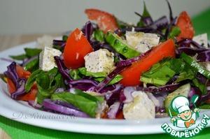 Рецепт Салат с овощами, шпинатом и тофу