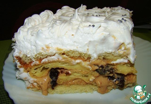 Бисквитный торт с белковым кремом рецепт с фото