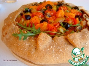 Рецепт Овощная гречневая галета с чечевицей и грибами