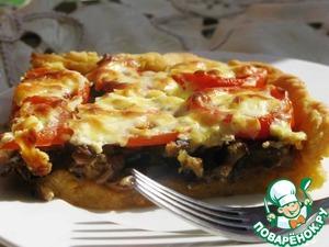 Рецепт Деревенский пирог из картофельного теста с грибами и баклажанами