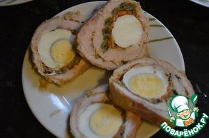 Рецепт Рулет из карбоната с яйцом и фасолью