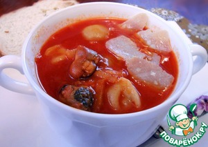 Рецепт Суп томатный с пельменями и морскими гадами