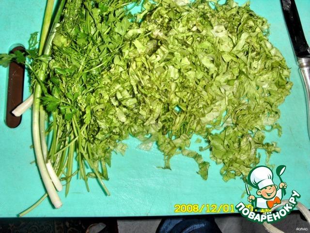 рецепт салата из листьев салата и рыбы