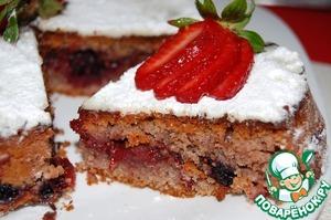 Рецепт Постный пирог с клубникой и чёрной смородиной