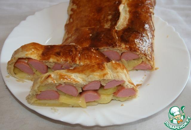 Штрудель с картофелем и сосисками рецепт