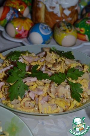 Рецепт Грибной салат с блинчиками
