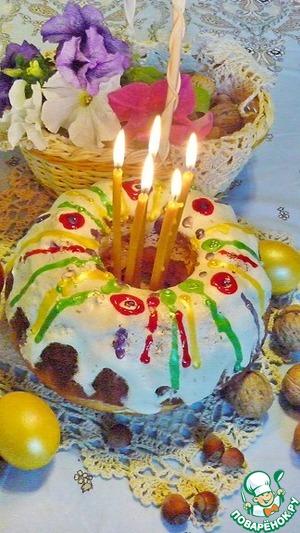 Рецепт Кулич с шоколадно-ореховой начинкой