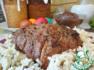 Рецепт Свинина пасхальная с яблочным соусом и рисовым гарниром