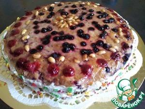 Рецепт Арахисовый торт с ягодно-ореховой начинкой