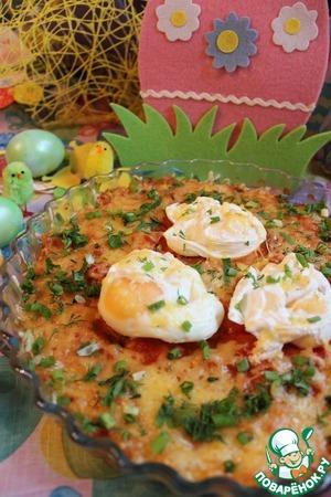 Рецепт Рис с яйцом-пашот, запеченный с томатным соусом