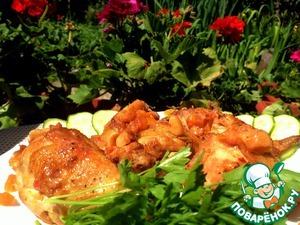 Рецепт Курица, запеченная с курагой, изюмом и кешью