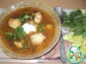 Рецепт Щи кислые с куриными колобками и крапивой