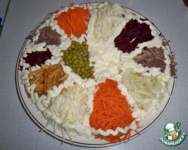 Салат подсолнух с шампиньонами и курицей рецепт