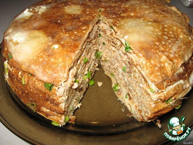 Блинный торт с курицей грибами рецепт с фото
