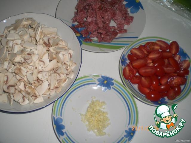 """Макаронно-мясной """"торт"""" с салями домашний рецепт приготовления с фотографиями пошагово как приготовить #2"""