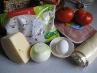 Закрытый пирог с курицей, грибами и сыром ингредиенты
