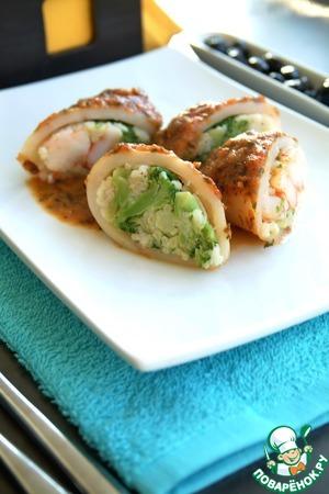 Рецепт Кальмары с рисом, креветками и брокколи под базиликово-томатным соусом Дж. Оливера