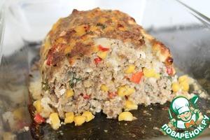 Рецепт Мясной рулет с кукурузой, паприкой и сыром фета