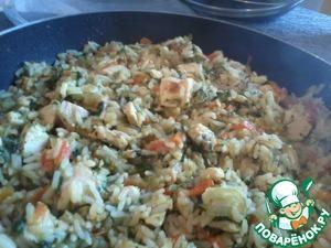 Рецепт Солнечный рис с курицей, овощами и чечевицей