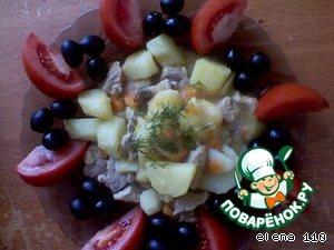 Готовим вкусный рецепт с фото Тушеная картошка с индейкой #4