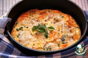 Рецепт Запечeнный омлет с лососем, зелeным горошком и моцареллой