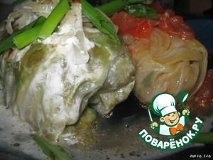 Рецепт Голубцы, запечeнные под сметанно-луковым соусом