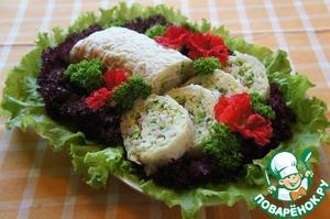 Рецепт Закусочный рулет из риса с ветчиной