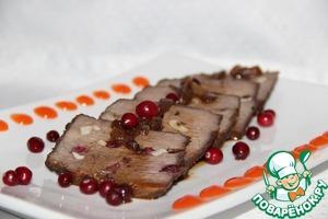 Рецепт Говядина с клюквой, томленная в красном луке