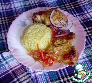 Рецепт Курица Тандури и ароматный рис на кокосовом молоке с шафраном