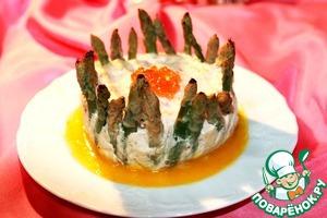Рецепт Суфле из лосося и крабовых палочек со спаржей и с апельсиновым соусом