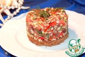 Рецепт Тартар из крабовых палочек с подкопченым лососем на бородинском хлебушке