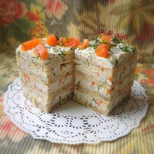 """Рецепт Закусочный торт с крабовыми палочками """"А`Море"""""""
