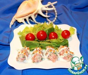 Рецепт Риет из крабовых палочек и малосольного лосося с икорным соусом