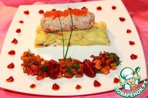 Рецепт Мусс из лосося с крабовыми палочками на ложе из картофельного гратена