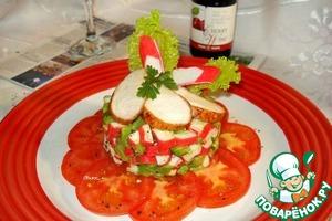 Рецепт Салат из крабовых палочек с авокадо и куриной грудкой