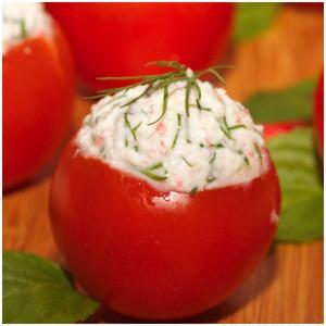 Как готовить Помидорки черри с крабово-сырной начинкой домашний пошаговый рецепт приготовления с фотографиями