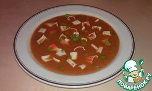Рецепт Томатный суп-пюре с крабовой стружкой