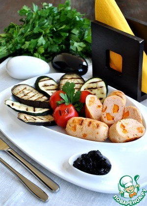 Рецепт Куриные сардельки с сыром лестер и овощами-гриль