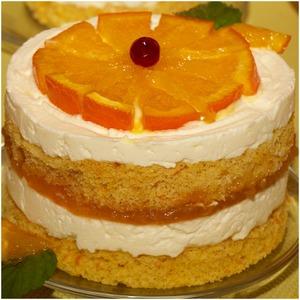 Рецепт Десерт Баварезе с горячими апельсиновыми дольками
