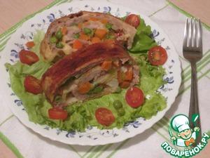 Рецепт Мясной рулет из фарша и овощей, в слоёном тесте