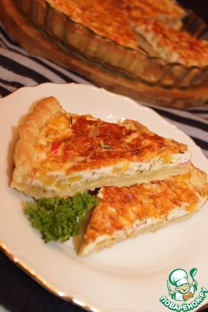 Рецепт Песочный пирог с крабовыми палочками