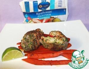 Рецепт Медальоны из лосося в зеленой панировке, фаршированые крабовыми палочками с карамелизованной морковью