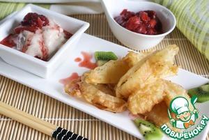 Рецепт Сладкая тэмпура из фруктов с клубничным соусом