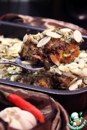 Рецепт Иорданская запеканка из тыквы с фаршем в тахинно-йогуртовом соусе