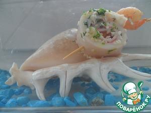 """Рецепт Канапе из кальмаров с крабовыми палочками """"А`море мио"""""""