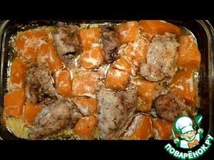 Рецепт Куриные бёдра, запеченные с тыквой в духовке
