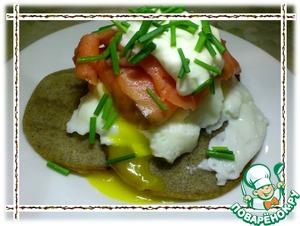 Рецепт Яйца-пашот и копченый лосось с оладьями