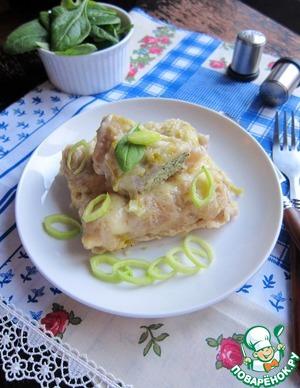 Рецепт Каннеллони с индейкой и шпинатом в соусе с луком-пореем